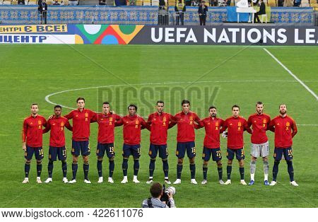 Kyiv, Ukraine - October 13, 2020: Spanish Players Listen To The National Anthem Before The Uefa Nati