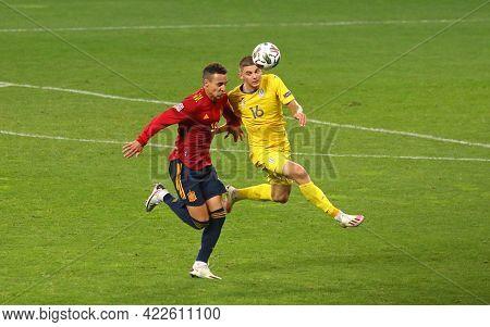 Kyiv, Ukraine - October 13, 2020: Rodrigo Of Spain (l) Fights For A Ball With Vitaliy Mykolenko Of U