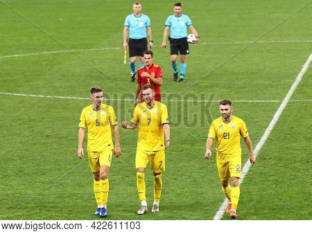 Kyiv, Ukraine - October 13, 2020: Ukrainian Players Go From The Pitch After Half Time Of The Uefa Na