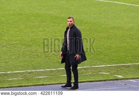 Kyiv, Ukraine - October 13, 2020: Ukrainian Manager Andriy Shevchenko Reacts During The Uefa Nations