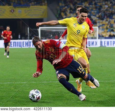 Kyiv, Ukraine - October 13, 2020: Sergio Ramos Of Spain (l) Fights For A Ball With Roman Yaremchuk O