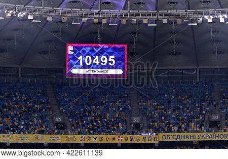 Kyiv, Ukraine - October 13, 2020: Scoreboard Of Nsk Olimpiyskyi Stadium With Attendance Of The Uefa