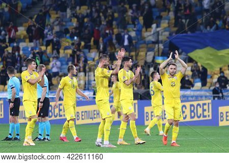 Kyiv, Ukraine - October 13, 2020: Ukrainian Players Thank Their Fans After The Uefa Nations League G