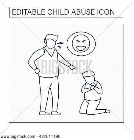 Constant Belittling Line Icon. Shaming, Humiliating.bullying.aggressive Actions Against Kid. Serious