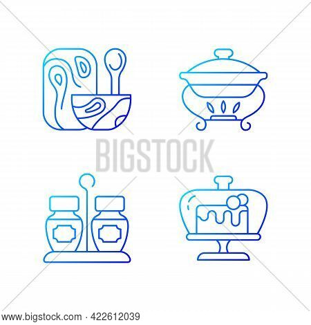 Modern Tableware Gradient Linear Vector Icons Set. Wooden Tableware For Kitchen. Warming Tray For Me