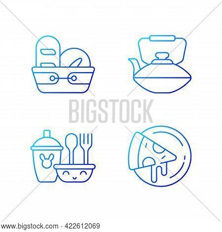 Kitcken Dinnerware Gradient Linear Vector Icons Set. Kitchen Bread Basket. Pizza Plates. Safe Dinner