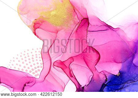 Abstract Watercolor Pink And Violet Gradient Pattern With Dots And Glitter.