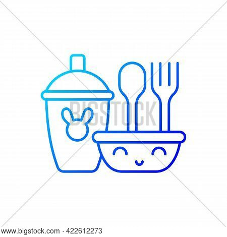 Kids Dinnerware Gradient Linear Vector Icon. Plates Created For Children To Eat Comfortably. Learnin