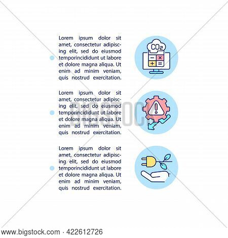 Carbon Offset Steps Concept Line Icons With Text. Ppt Page Vector Template With Copy Space. Brochure