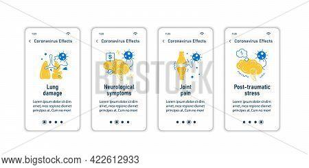 Corona Virus Effects Onboarding Mobile App Screens.covid Long Term System Health Damage Steps Menu.