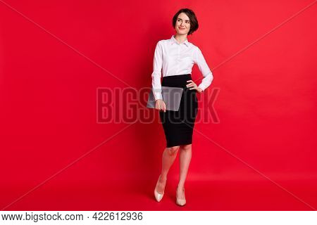 Full Length Body Profile Photo Confident Business Woman Keeping Laptop Smiling Looking Copyspace Iso
