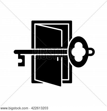 Finding Key To Get Out Black Glyph Icon. Gain Access To Open Door. Solving Puzzles, Clues For Riddle