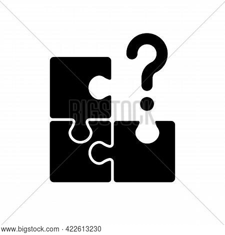 Mosaic Black Glyph Icon. Search For Missing Piece. Challenge For Logic. Maze Jigsaw, Clues For Riddl