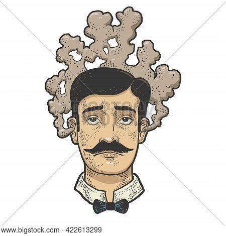 Man With A Steaming Head Color Line Art Sketch Engraving Vector Illustration. Solve Task Brainstorm