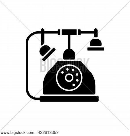 Telephone Black Glyph Icon. Old Fashioned Phone. Classic Device With Cord. Clues For Riddles. Part O