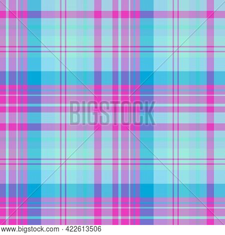 Seamless Pattern In Neon Colors For Plaid, Fabric, Textile, Clothes, Tablecloth And Other Things. Ve
