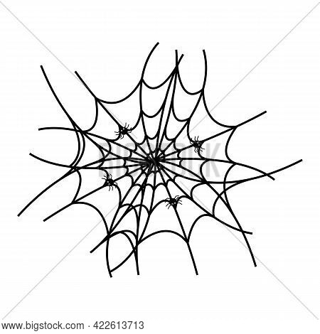 Spider Web With Spiders, A Simple Element. Isolated On White Background.