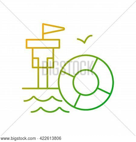 Lifeguarding Training Gradient Linear Vector Icon. First Aid. Water Emergencies Prevention And Respo