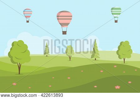 Vector Illustration In Cartoon Style With Fields And Green Hills. Spring Or Summer Landscape. Hot Ai