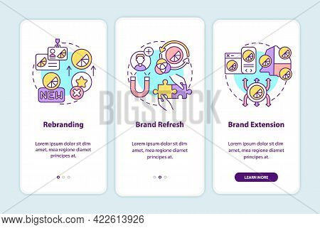 Brand Change Types Onboarding Mobile App Page Screen With Concepts. Rebranding, Brand Refresh Walkth