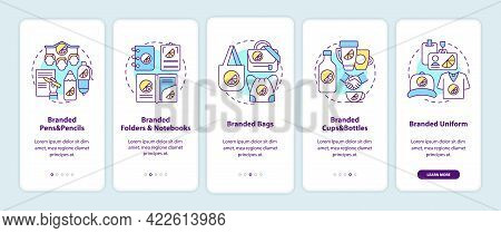 Corporate Branding Materials Onboarding Mobile App Page Screen With Concepts. Branded Bags, Pens Wal