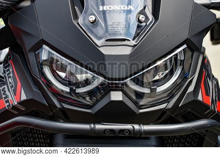 Close-up Front View Of Honda Africa Twin. Beautiful Motorcycle Of Japanese Brand In Black. Close-up