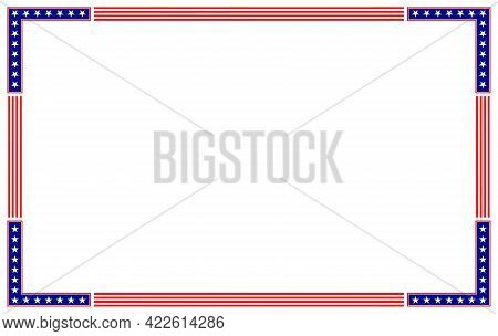 American Abstract Flag Border Frame With Empty Space For Your Text.