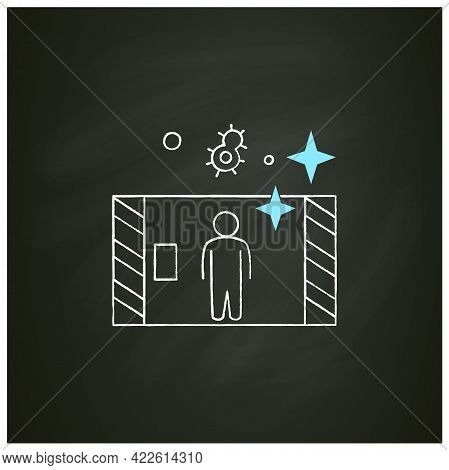 Disinfection Tunnel Chalk Icon. Person Walk In Antibacterial Solution Filled Tunnel. Corona Virus In