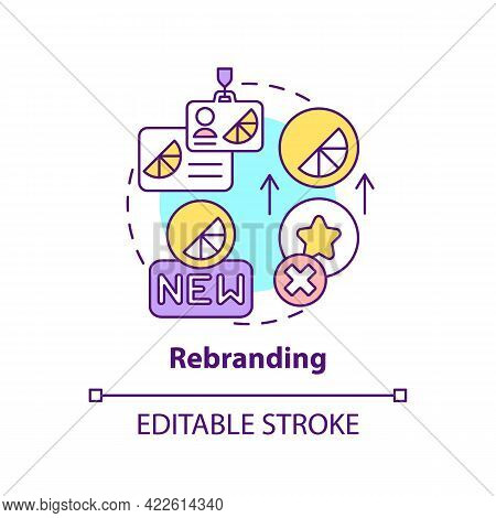 Rebranding Concept Icon. Brand Change Type Abstract Idea Thin Line Illustration. Logo Redesigning. B