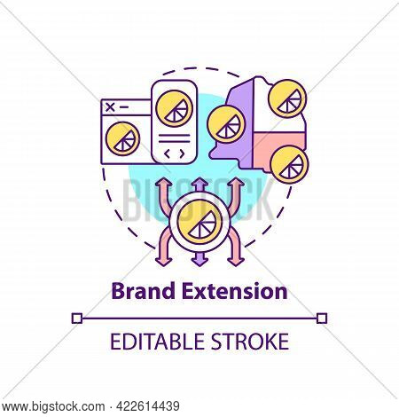 Brand Extension Concept Icon. Brand Change Type Abstract Idea Thin Line Illustration. Expanding Prod