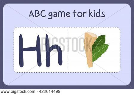 Kid Alphabet Mini Games In Cartoon Style With Letter H - Horseradish. Vector Illustration For Game D