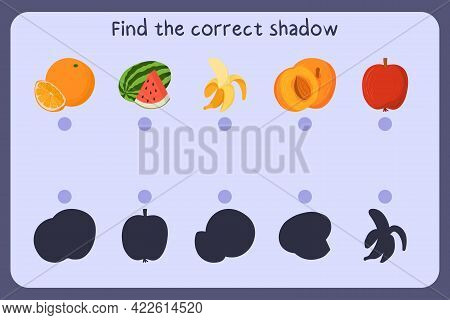 Matching Children Educational Game With Food - Orange, Banana, Apricot, Apple, Watermelon. Find The