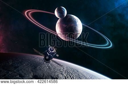 Deep Space Planets In Light Of Blue And Red Star. Orbital Space Station. Science Fiction. Elements O
