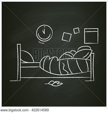 Blanket House Chalk Icon. Bedroom With Single Bed At Wall, Pillow And Blanket. Comfortable Bed Room