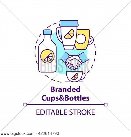 Branded Cups And Bottles Concept Icon. Corporate Branding Material Abstract Idea Thin Line Illustrat