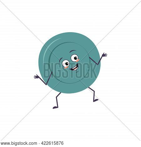 Cute Character A Plates With Joy Emotions, Smile Face, Happy Eyes, Arms And Legs. A Mischievous Dish