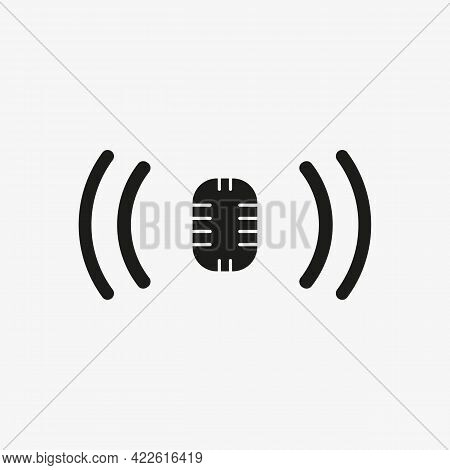 Podcast Icon. Studio Microphone Icon In A Fashionable Style Isolated On White Background. Radio Or K