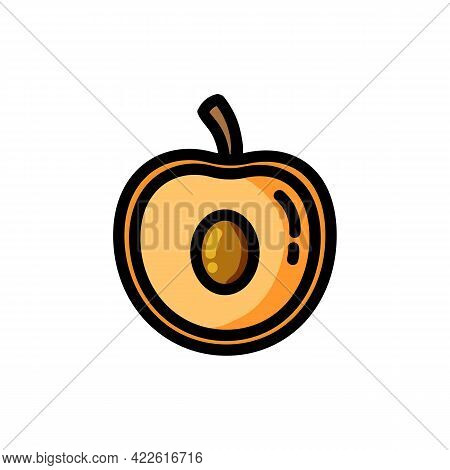 Apricot Outlined Icon. Vector Fruit Logo Isolated On White Background. Vegetarian Food Symbol, Media