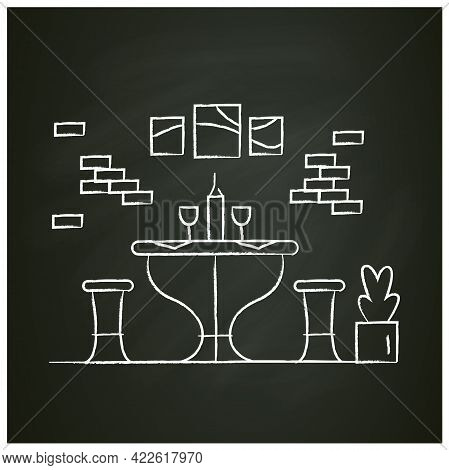 Kitchen Chalk Icon.dining Room With Dinner Table And Chairs.home Interior And Household Lifestyle Co
