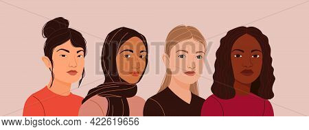 Multiculturalism Theme. Four Women Of Different Nationalities, Cultures, Skin Color And Hair Are Sta
