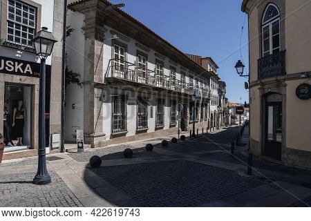 Braganza, Portugal - May 04, 2019: View Of The Caste And Fortress Of Braganca And His Walls. Portuga