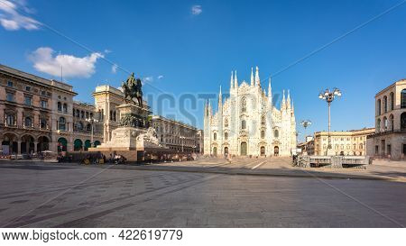 Long Exposure Of Milan Cathedral Duomo And Vittorio Emanuele Statue In Square