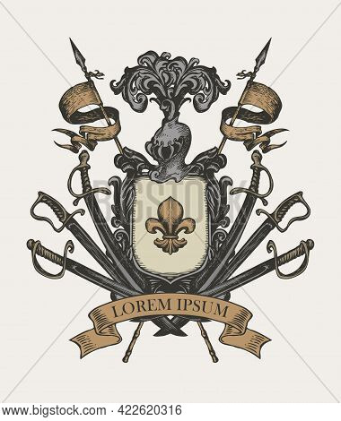 Vector Heraldic Coat Of Arms With Knightly Helmet, Spears, Sabers, Swords, Ribbon And A Fleur De Lis