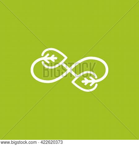 Infinity Sign With Leaves Arrows. Endless Resource. Eco Recycle Icon. Line Pictogram Isolated On Gre
