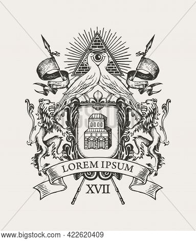 Vector Hand-drawn Coat Of Arms With Peacocks, All-seeing Eye, Lions, Flags, Ribbon And Knightly Shie