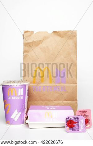Kuala Lumpur, Malaysia- Circa May, 2021: A Picture Of Mcdonald The Bts Meal Mcnugget With Special Sa