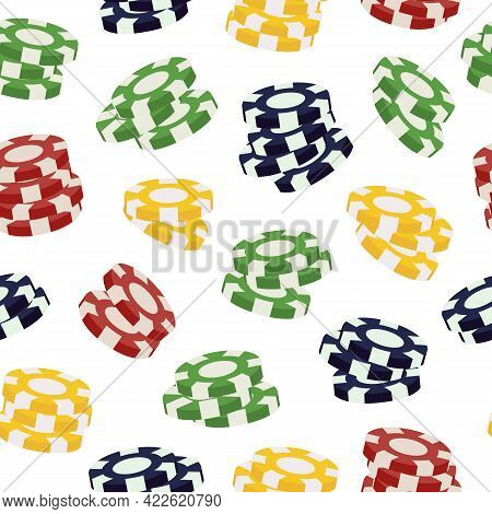 Round Red, Yellow, Green, And Black Stacks Of Flying 3d Casino Chips In Seamless Pattern. Colorful R