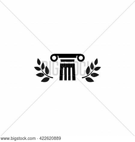 Winner Pedestal With Laurel. Podium For Best Product With Greek Or Roman Column. Antique Pillar. His