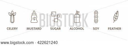 Allergen Line Icon Set. Pollen, Celery, Mustard, Gmo Alcohol, Sugar, Soy, Pollen Free. Organic And N