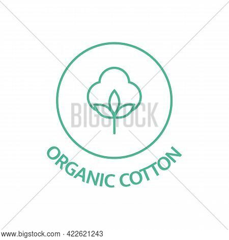 Organic Cotton Line Icon. Sustainable Plant Stamp. Fabric Badge. Biodegradable Symbol. Slow Fashion.